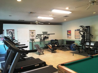 Two treadmills, weight machine, recumbent bicycle, free weights, and elliptical